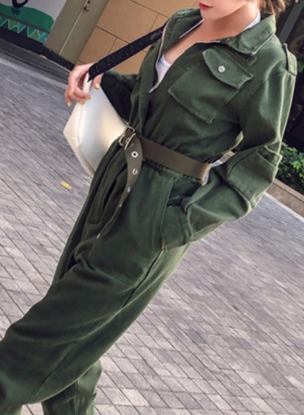 Long Sleeve green Jeans Jumpsuit
