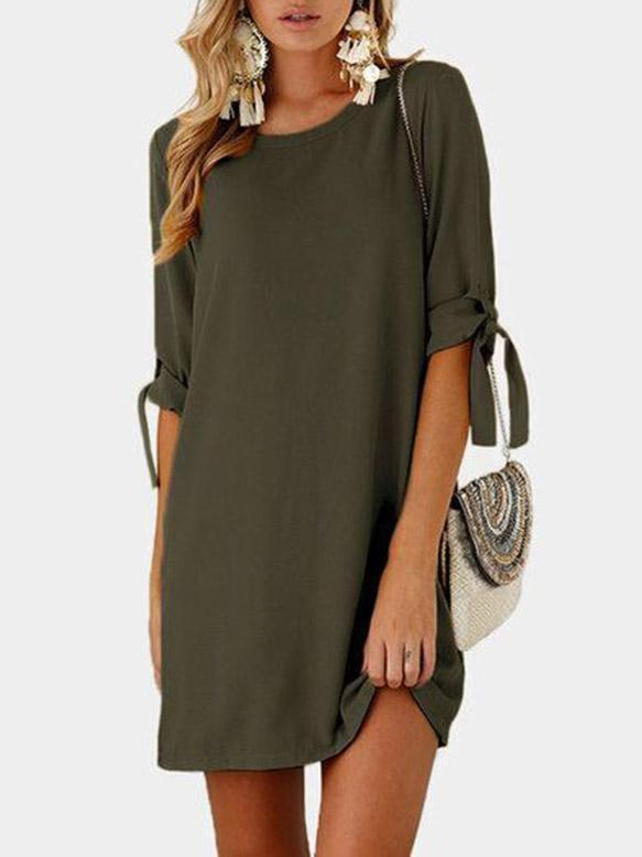 Solid Color Round neck Half Sleeve Mini Dress