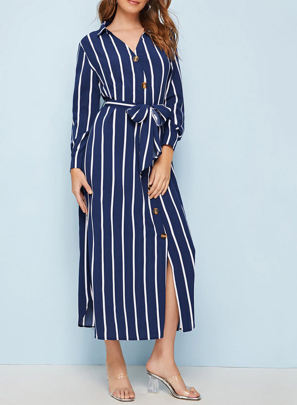 Striped Button Front Belted Maxi Dress