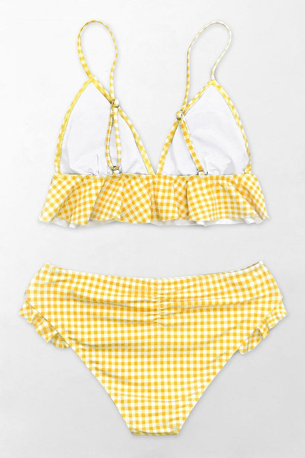 Yellow Gingham Ruffled Bikini
