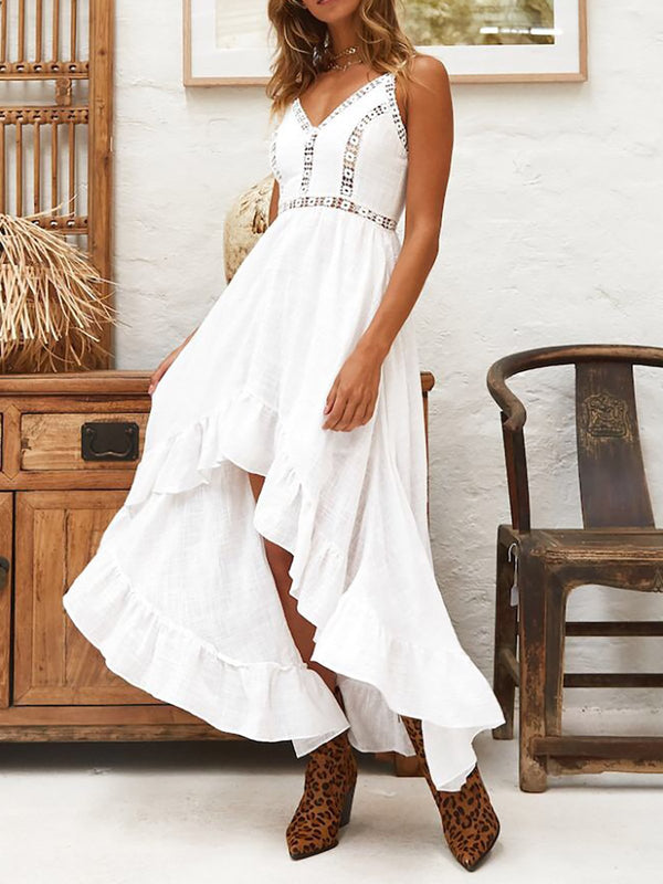 White V Neck Swing Casual Cotton Casual Dress