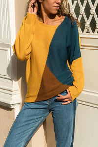 V Neck  Color Block Sweater