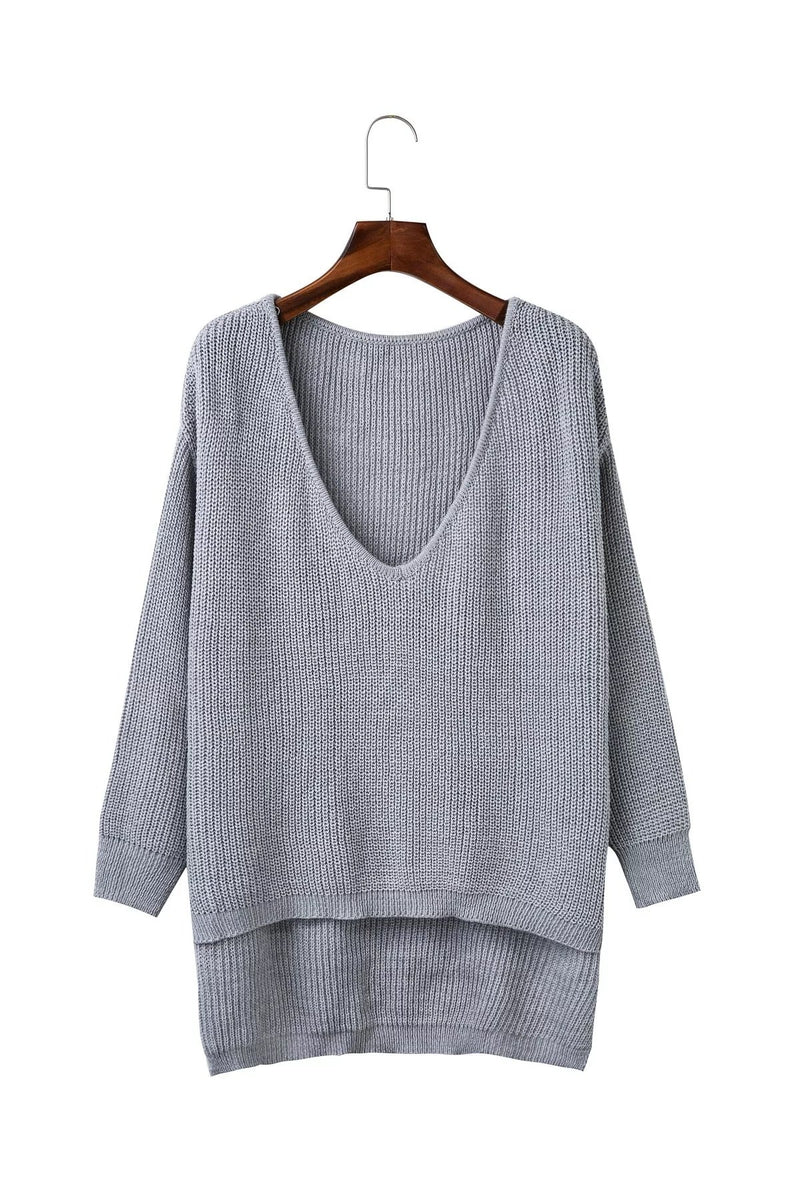 Deep V Neck Hem High Low Sweater - Grilchic