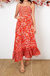 Porto Maxi Dress In Red With Orange Floral