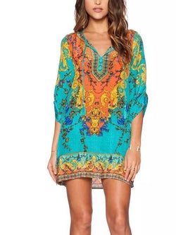 V-neck Floral-Print 3/4 Sleeve Mini Bohemia Dress