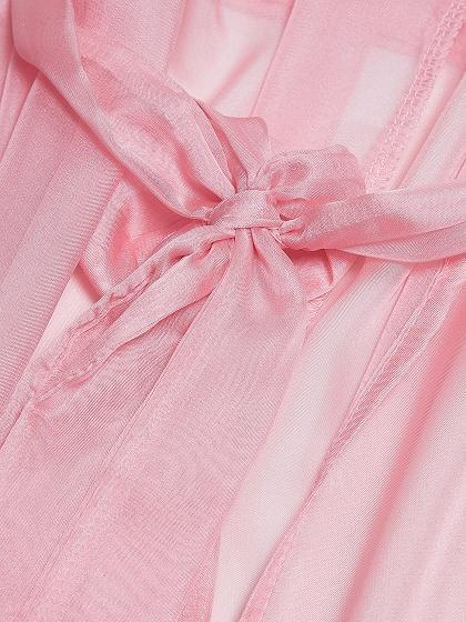 Pink Sheer Mesh Tie Waist Open Front Maxi Beach Kimono Dress