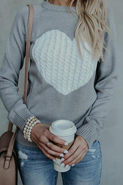 GirlOnStyle Cute Heart Jewel Sweater
