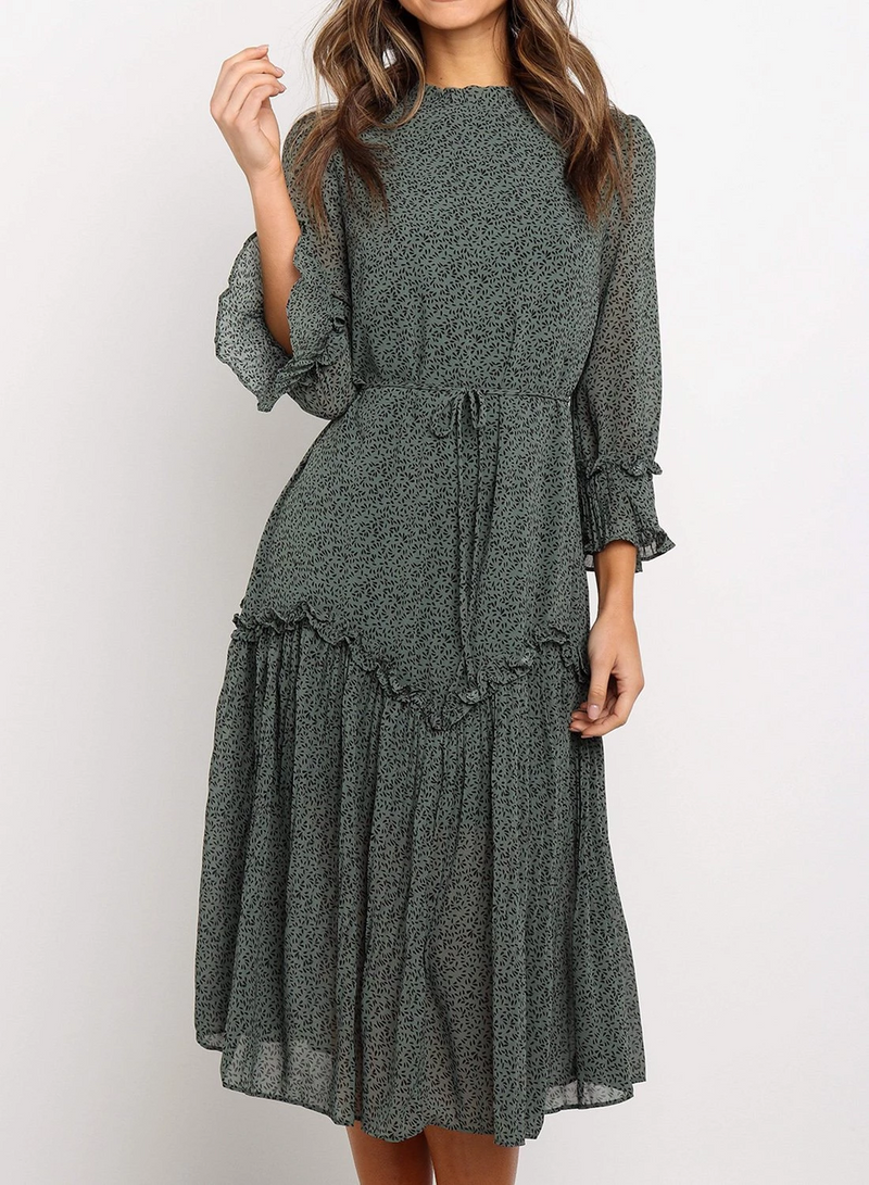 Green Waist Tie Ruffle Midi Dress