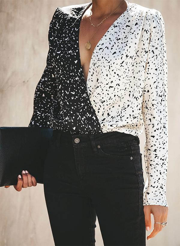 BLACK AND WHITE CONTRAST DRAPE BLOUSES