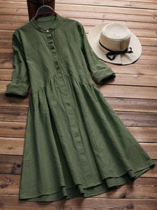 3 Colors Sweet Long Sleeve Solid Dress