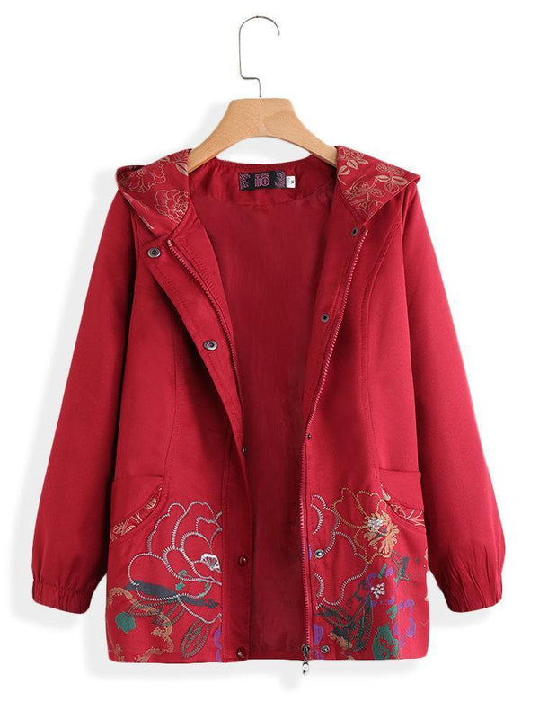 Hooded Embroidered Long Sleeve Zipper Vintage Coat