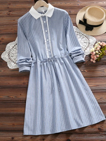 2 Colors Paneled Sweet Striped Long Sleeve Dress