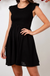 Frilled Sleeves Linen Dress In Black