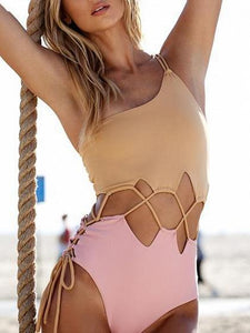 Multicolor Lace Up Detail Open Back Swimsuit