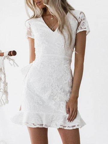 White V-neck Embroidery Back Tie Waist Chic Women Lace Mini Dress