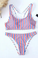 Multicolor Stripe Chic Women Bikini Top And High Waist Bottom