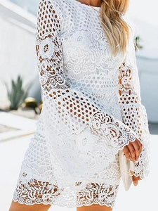 White Cut Out Detail Flare Sleeve Chic Women Lace Mini Dress