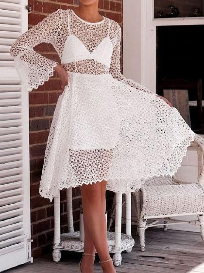 White Asymmetric Hem Flare Sleeve Chic Women Lace Dress