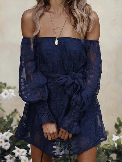 Blue Off Shoulder Tie Waist Puff Sleeve Chic Women Lace Mini Dress