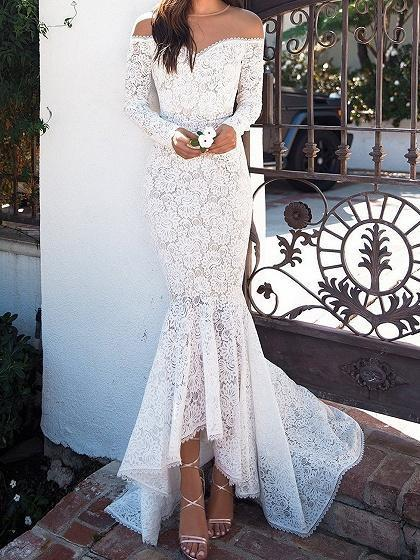 White Off Shoulder Fishtail Hem Long Sleeve Lace Bodycon Maxi Dress