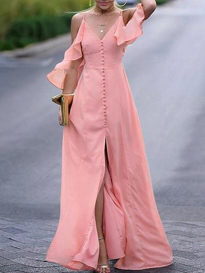 Pink V-neck Ruffle Trim Button Placket Front Cami Maxi Dress