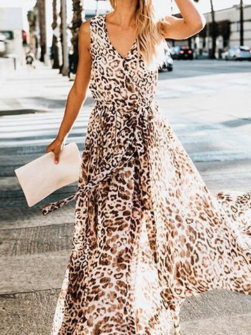 Brown Chiffon V-neck Leopard Print Sleeveless Women Maxi Dress