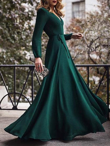 Green V-neck Tie Waist Long Sleeve Women Maxi Dress