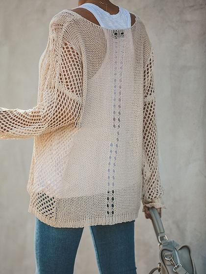 Beige V-neck Cut Out Detail Long Sleeve Women Sweater