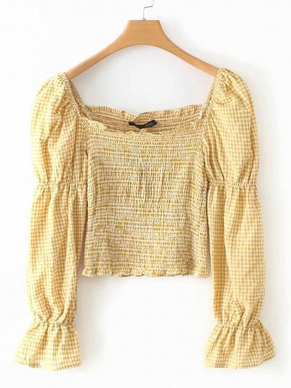 Yellow Plaid Square Neck Puff Sleeve Women Crop Blouse
