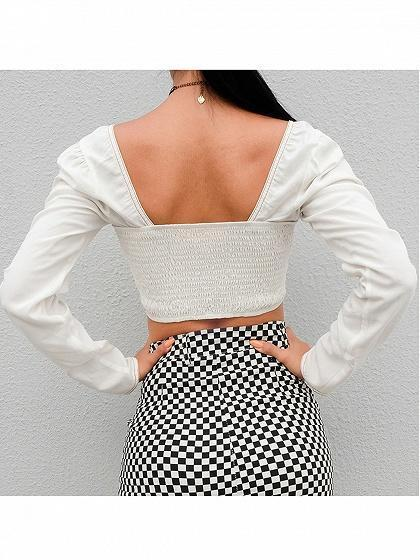 White Cotton Square Neck Lace Up Front Long Sleeve Women Crop Top