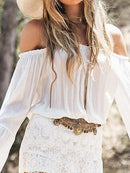 White Women Maxi Dress Off Shoulder Lace Panel Flare Sleeve