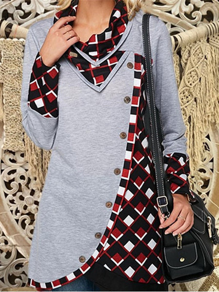 3 Colors Gingham V Neck Buttoned Simple & Basic Asymmetric Sweatshirts