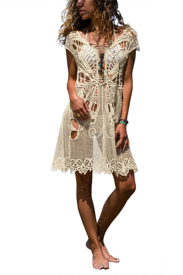 Beige Hollow-out Butterfly Crochet Beach Cover up