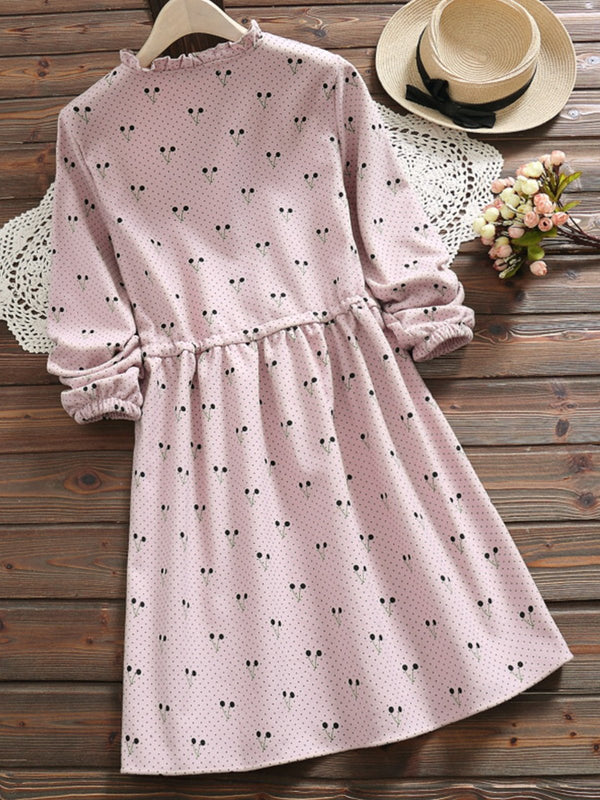 2 Colors Sweet Cherry Printed Long Sleeve Dress