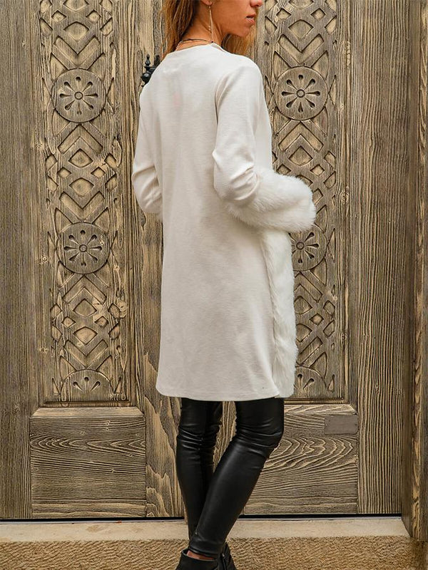 Paneled Turn-Down Collar Long Sleeve Outwears