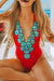 Flower Embroidery Halter Neck One Piece Swimsuit