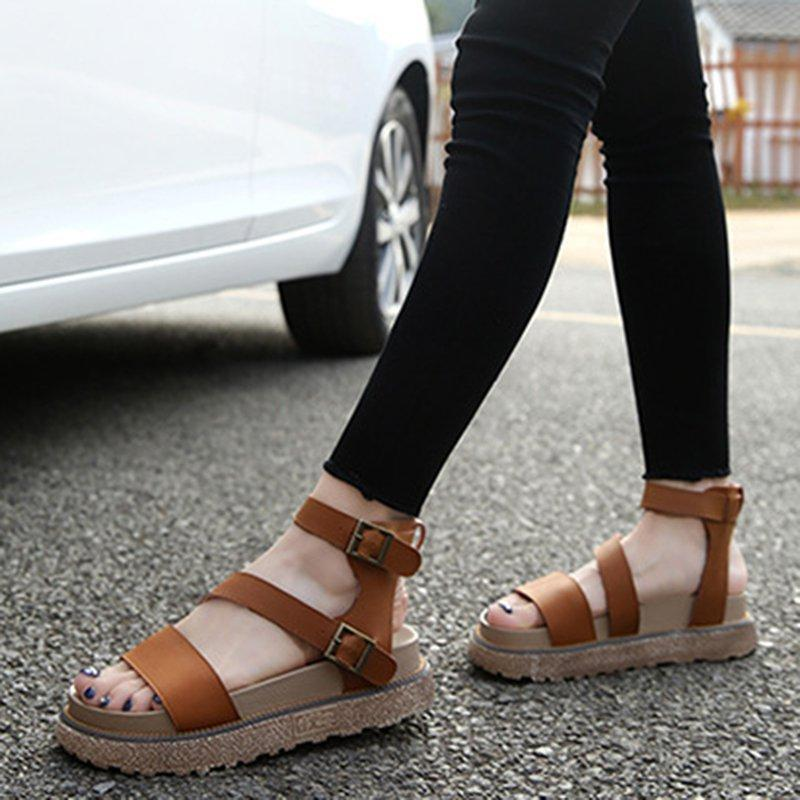 Womens Buckle Summer Artificial Leather Shoes