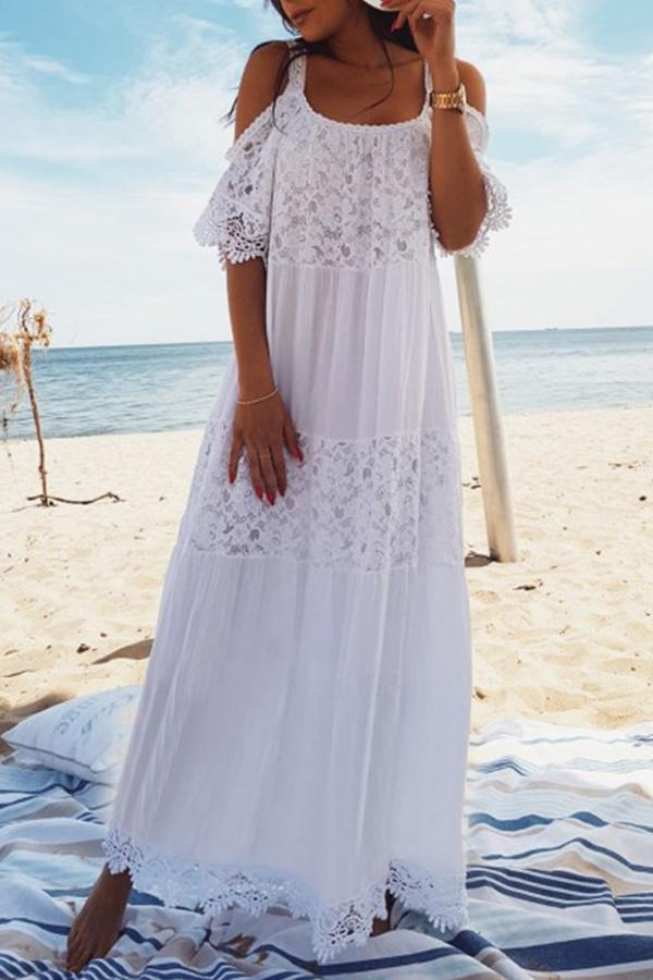 Cold Shoulder Lace Panel Cover Up