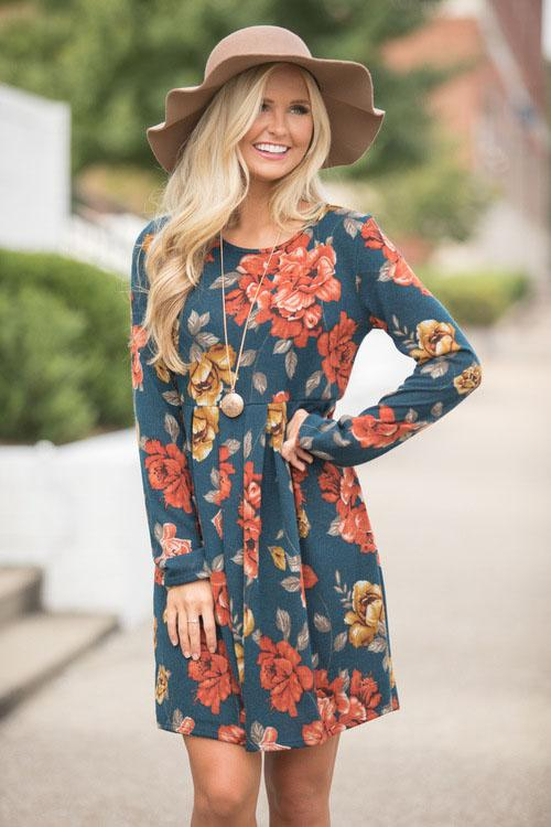 Girlonstyle Floral Print Long Sleeve Dress
