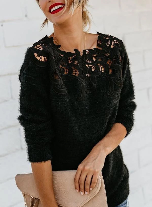 Asymmetric Neck  Decorative Lace  Plain Sweaters