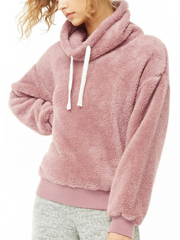 Fleece Long Sleeve Turtle Neck Plain Hoodies