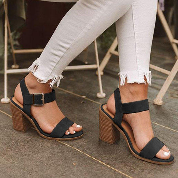 Women's Elegant Simple Heels Adjustable Buckle Chunky Heel Plus Size Sandals