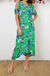 Maxi Dress In Green With Violet Floral