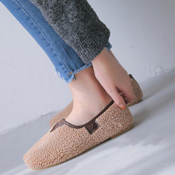 Soft Fleece Curly Plush Slip On Warm Loafers