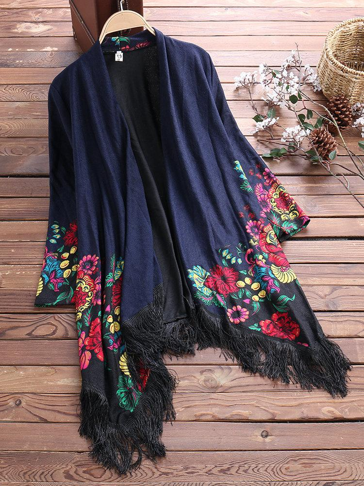 Vintage Printed Tassel Cardigan Shawl for Women