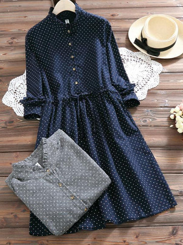 3 Colors Cute Polka Dots Long Sleeve Dress