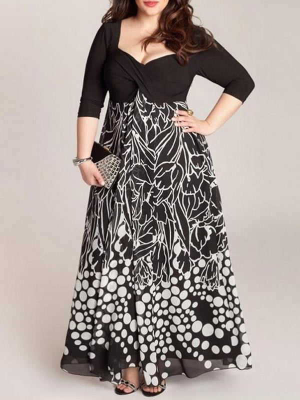 3/4 Sleeve Printed Chiffon V-Neck Maxi Plus Size Dress
