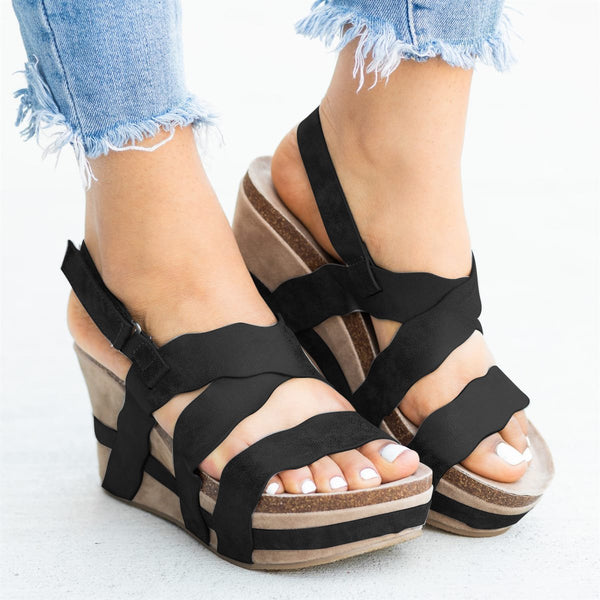 Women's Magic Tape Scalloped Edge Wedge Heel Sandals