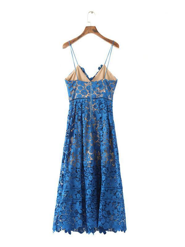 Blue Spaghetti Strap Midi Lace Midi Dress