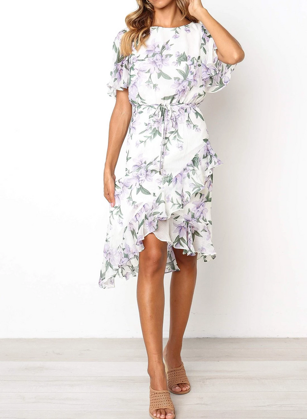Sheer Butterfly Sleeves Floral Midi Dress